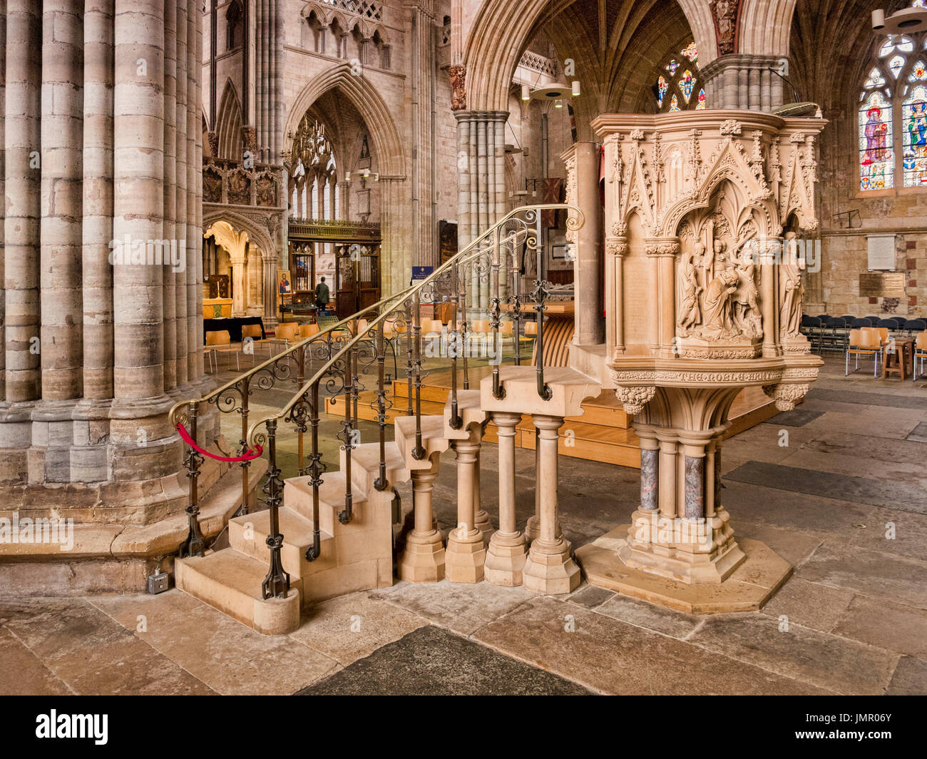 24 June 2017: Exeter, Devon, England, UK - The Martyr's Pulpit, installed in 1877, in Exeter Cathedral, Devon. - Stock Image