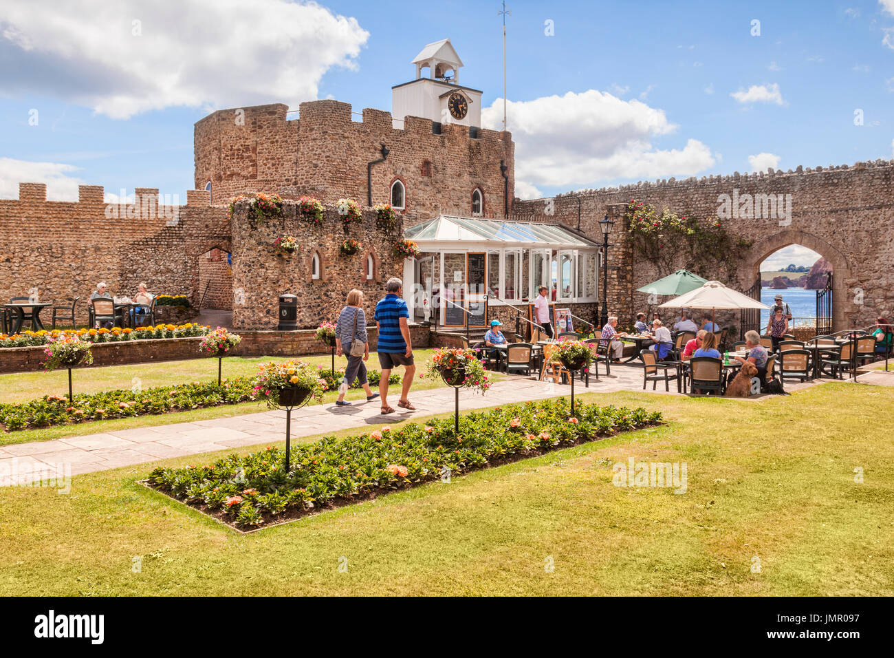 3 July 2017: Sidmouth, Dorset, England, UK - Cafe in Connaught Gardens on a sunny summer day. - Stock Image