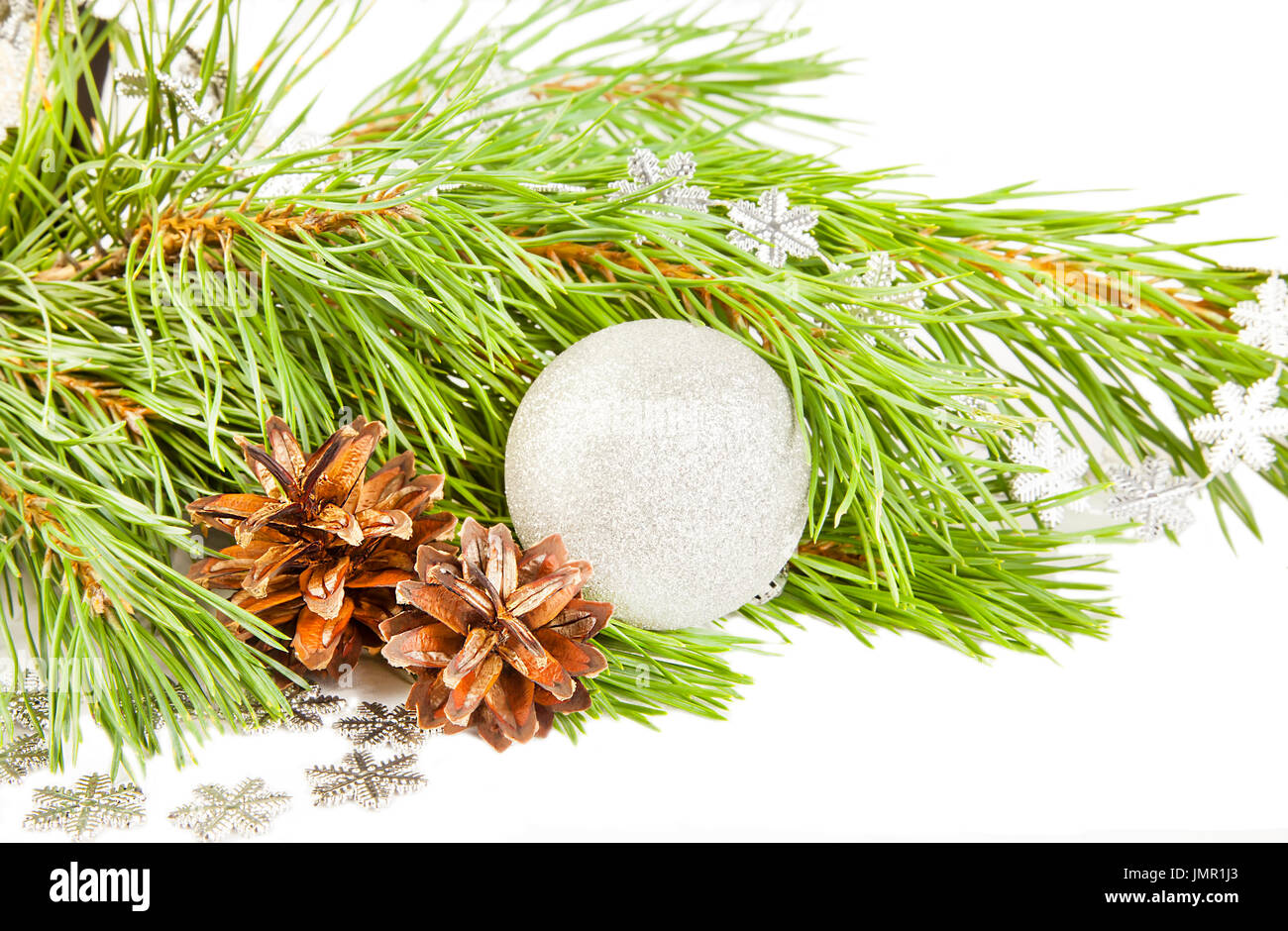 Christmas composition with fir tree, cones and silver ball isolated on white background - Stock Image