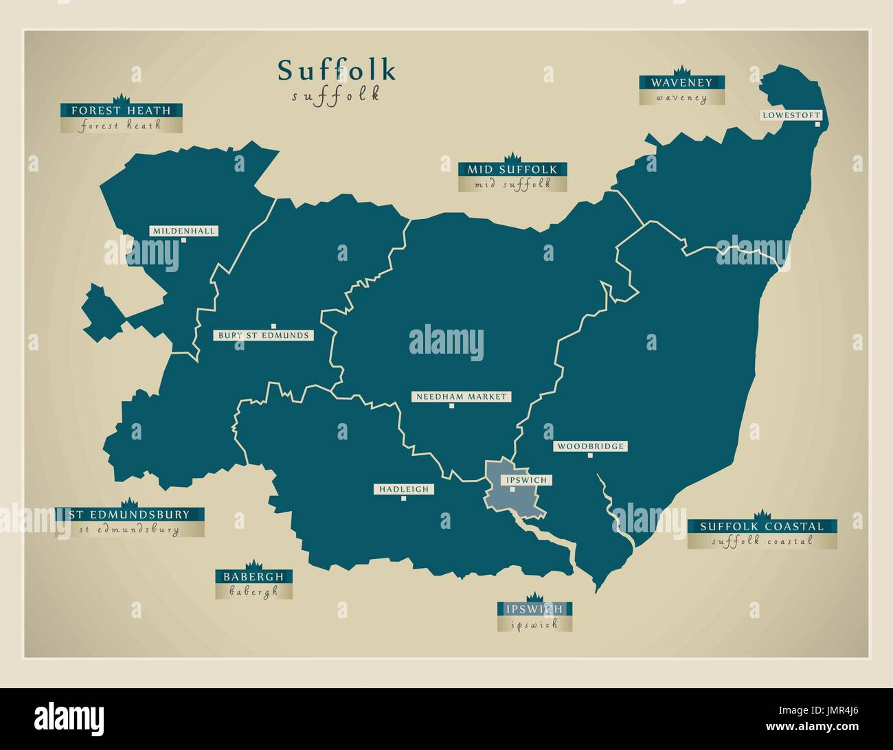 Modern Map - Suffolk county with district labels England UK illustration - Stock Image