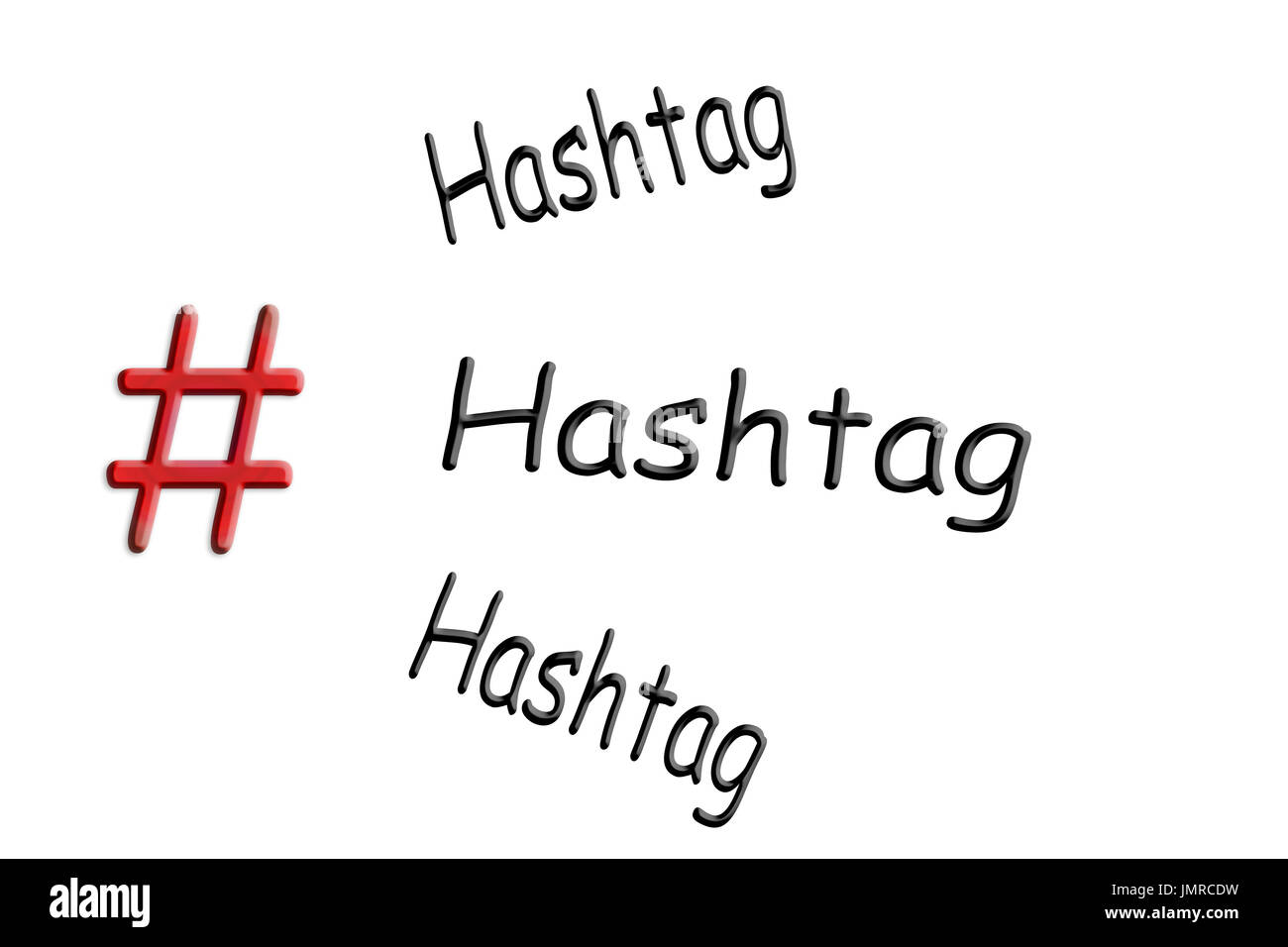 Internet and social media-trend theme # Hashtag sign on white background with caption Hashtag. - Stock Image