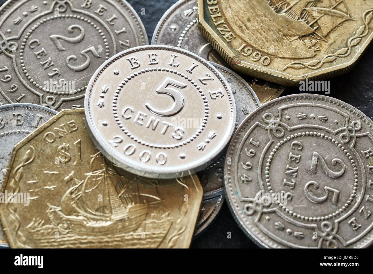 Extreme close up picture of Belize money, shallow depth of field. - Stock Image