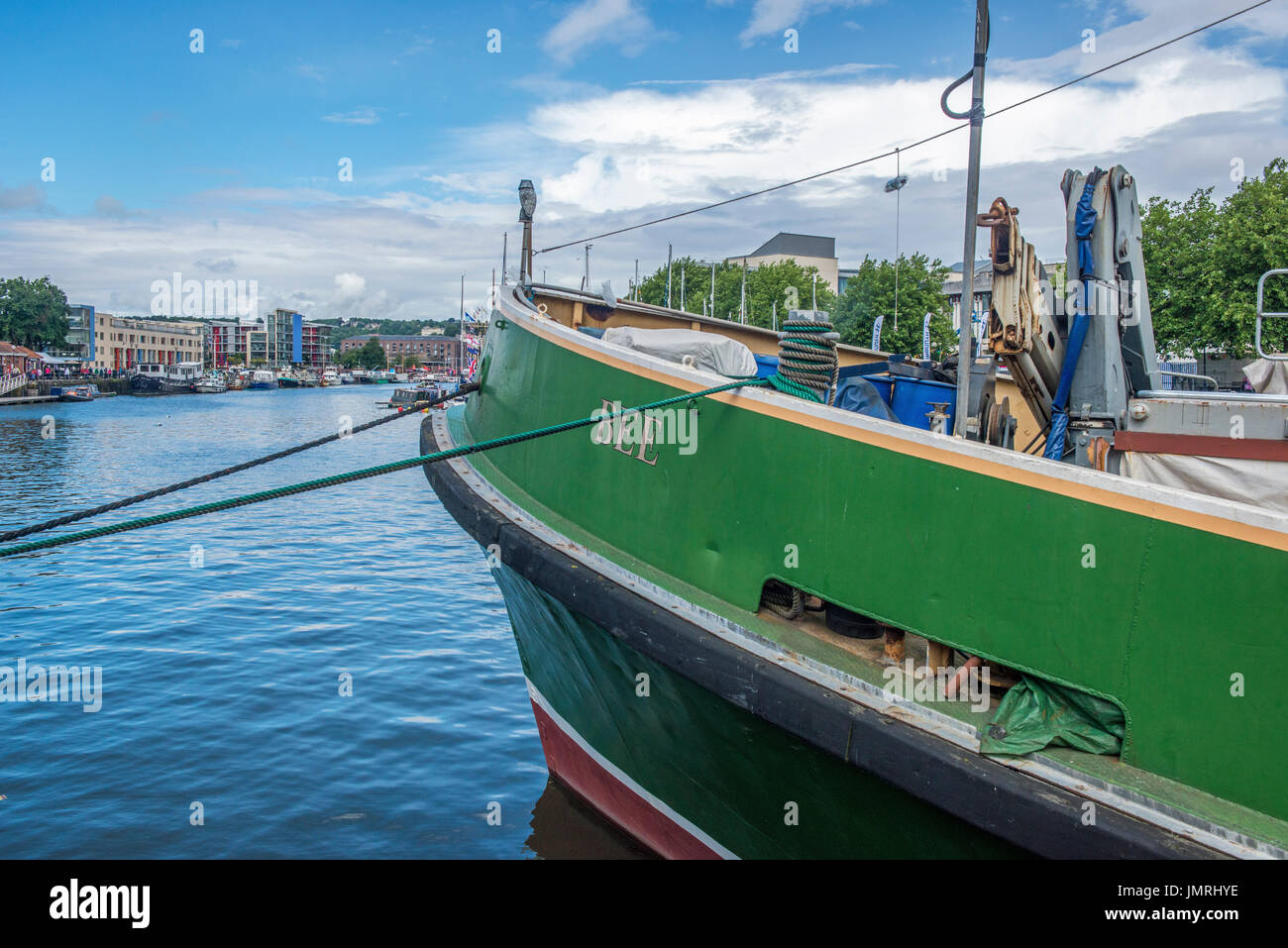 Bee, a green painted trawler in Bristol Harbour - Stock Image