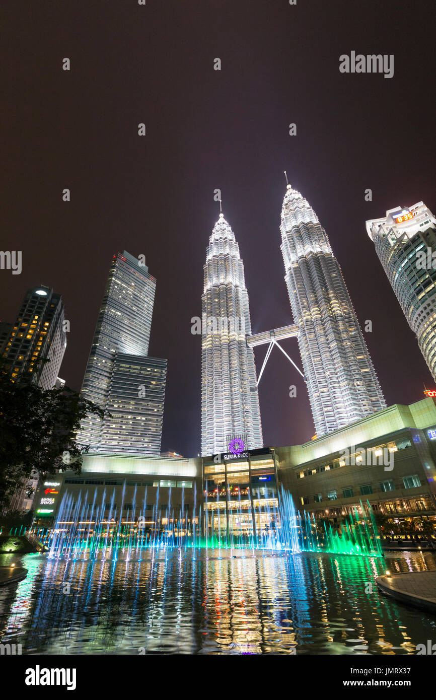 KLCC lake symphony water fountain show, Kuala Lumpur, Malaysia - Stock Image