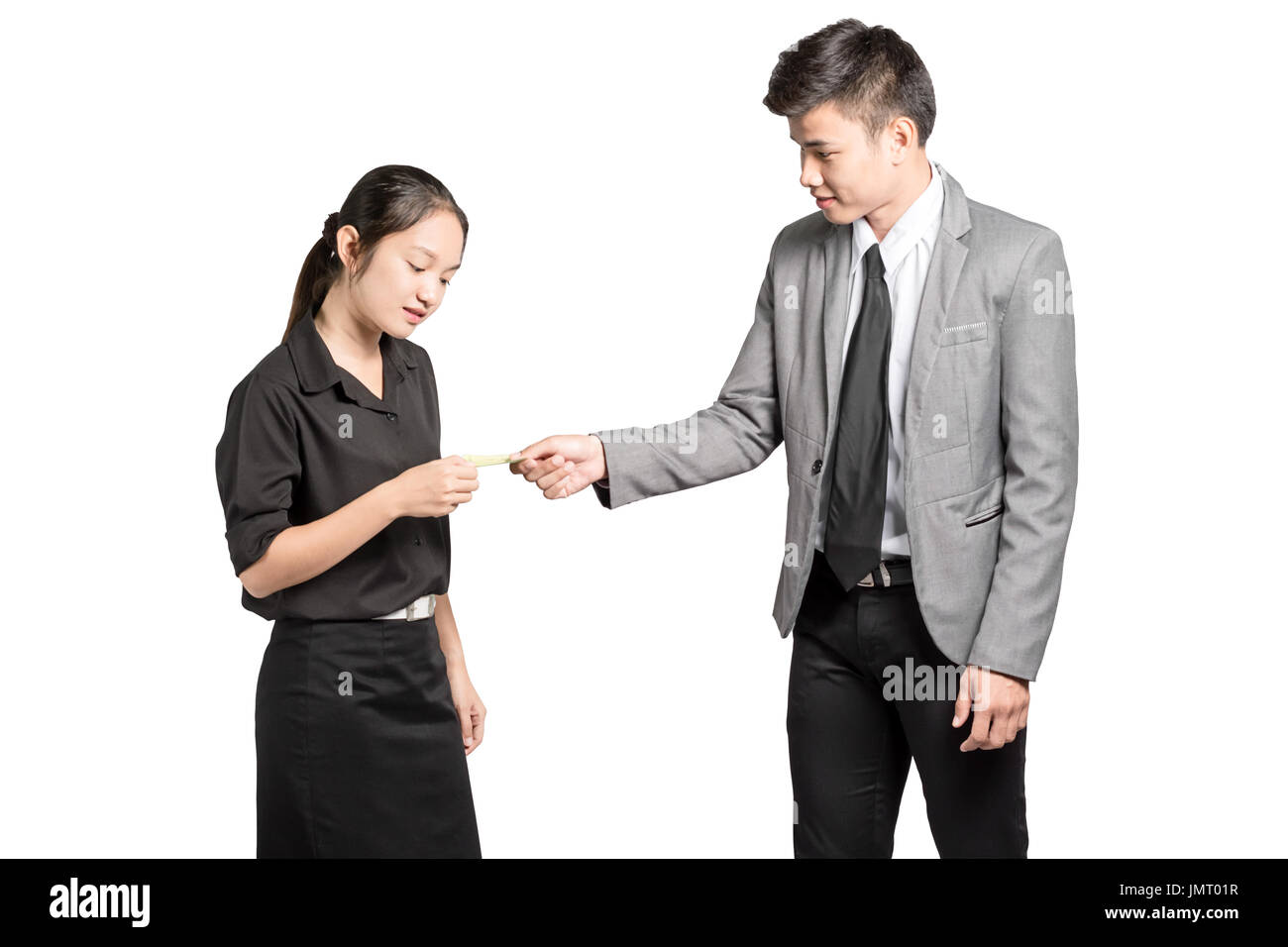portrait of asian business man exchange a business card with Stock ...