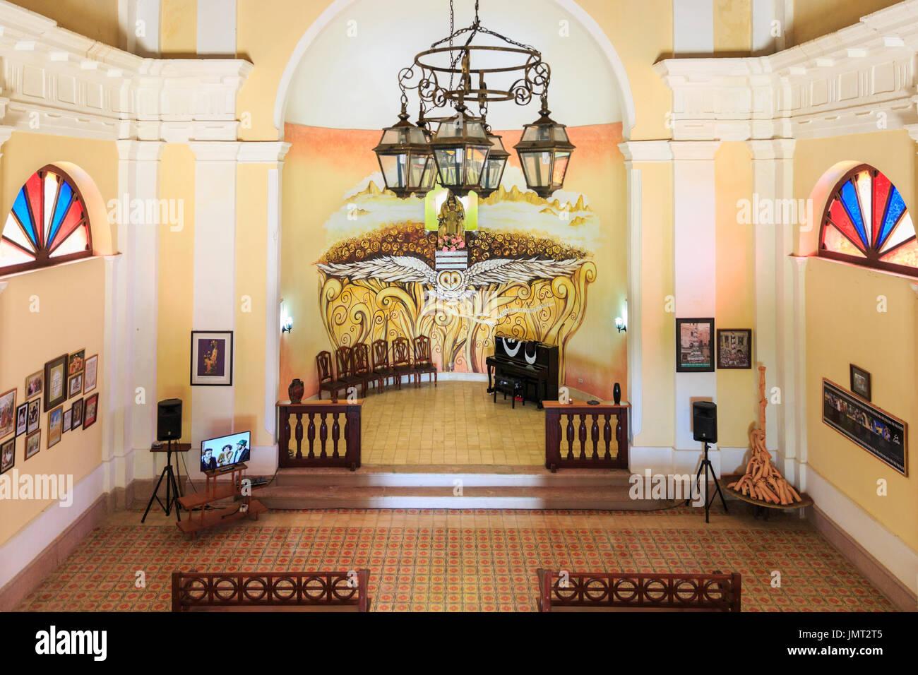 Ermita De Monserrate Iglesia Spanish Colonial Style Church Interior Altar And Nave In Matanzas Cuba
