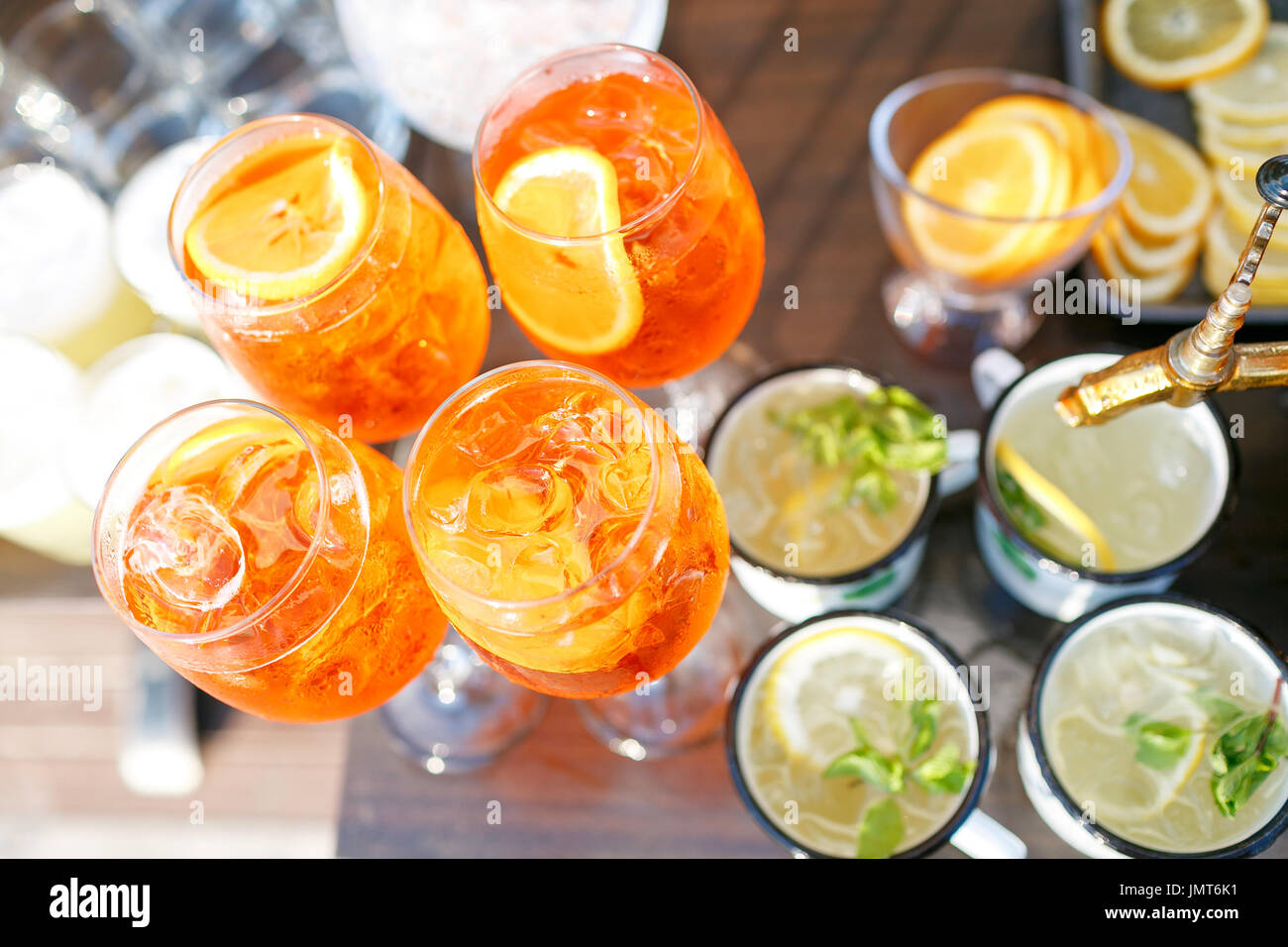 Aperol spritz cocktail in misted glass, selective focus Stock Photo