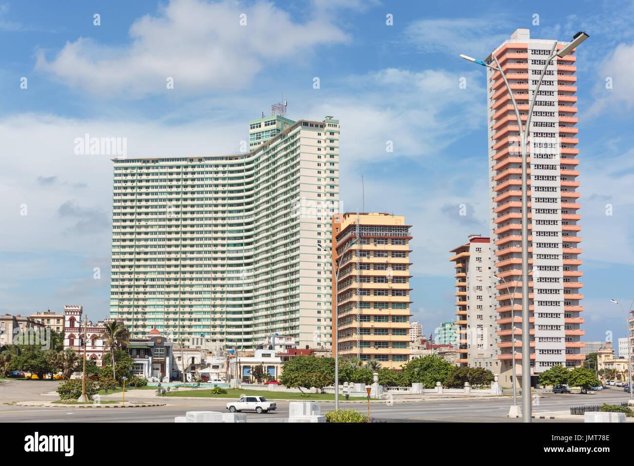 Pastel Coloured Retro Look High Rise Apartment Block Buildings Near The Malecon Vedado Havana Cuba