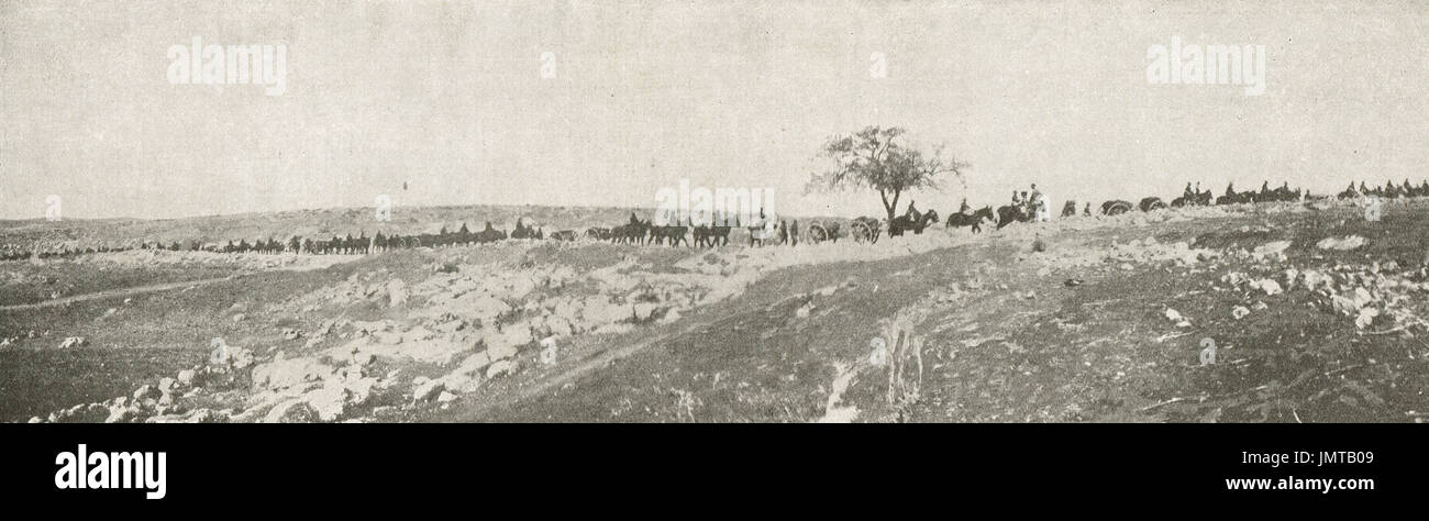 British West Country artillery troops, Judean foothills, 1917 - Stock Image