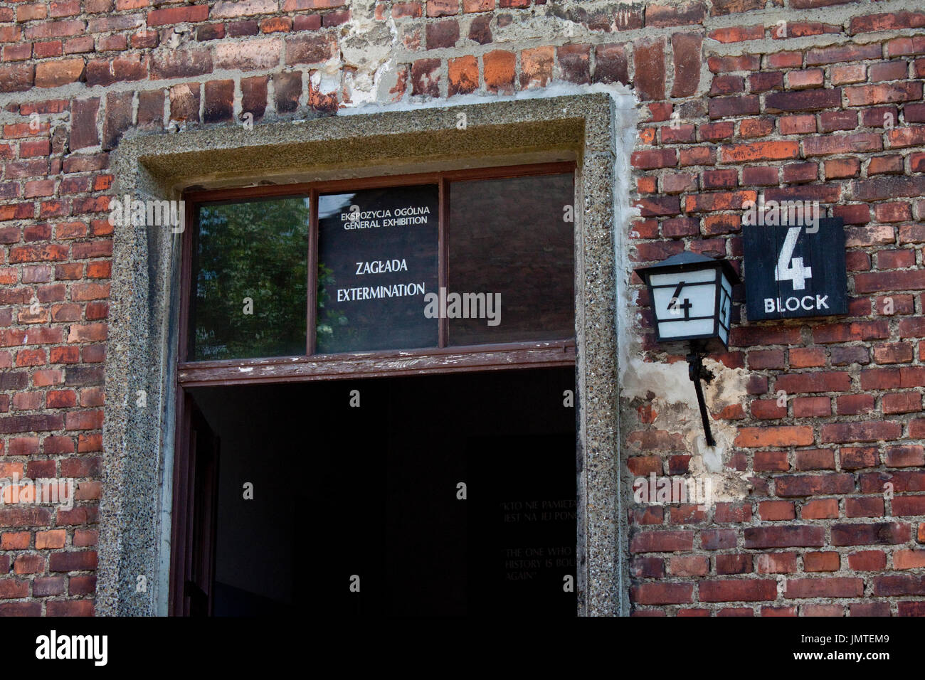 The entrance to the extermination building block 4 at the Auschwitz concentration camp - Stock Image