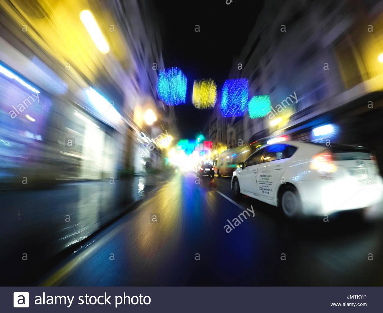 Taxi en las calles de valencia Stock Photo