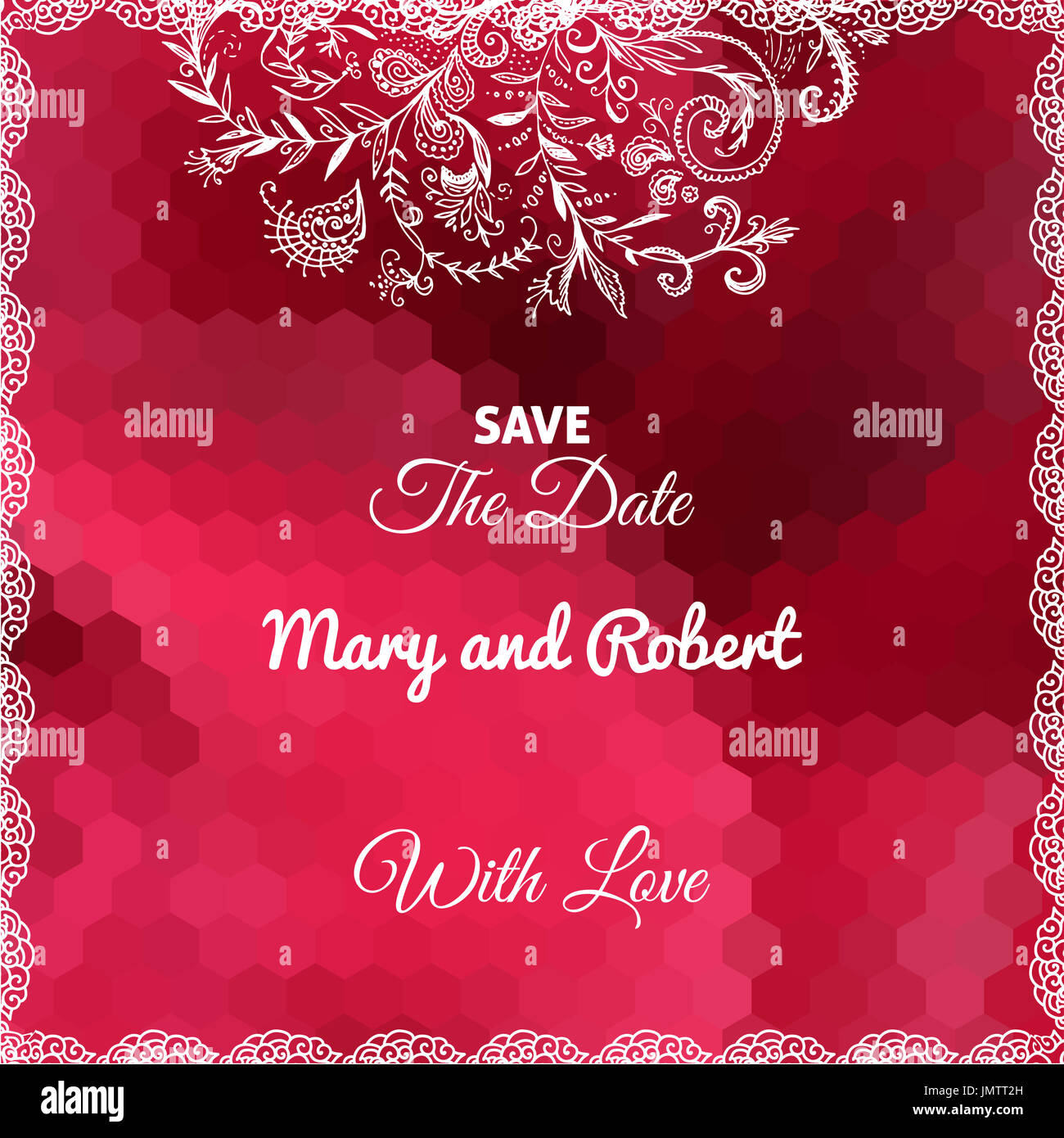 Wedding invitation card with doodle ornament on geometric red Stock ...