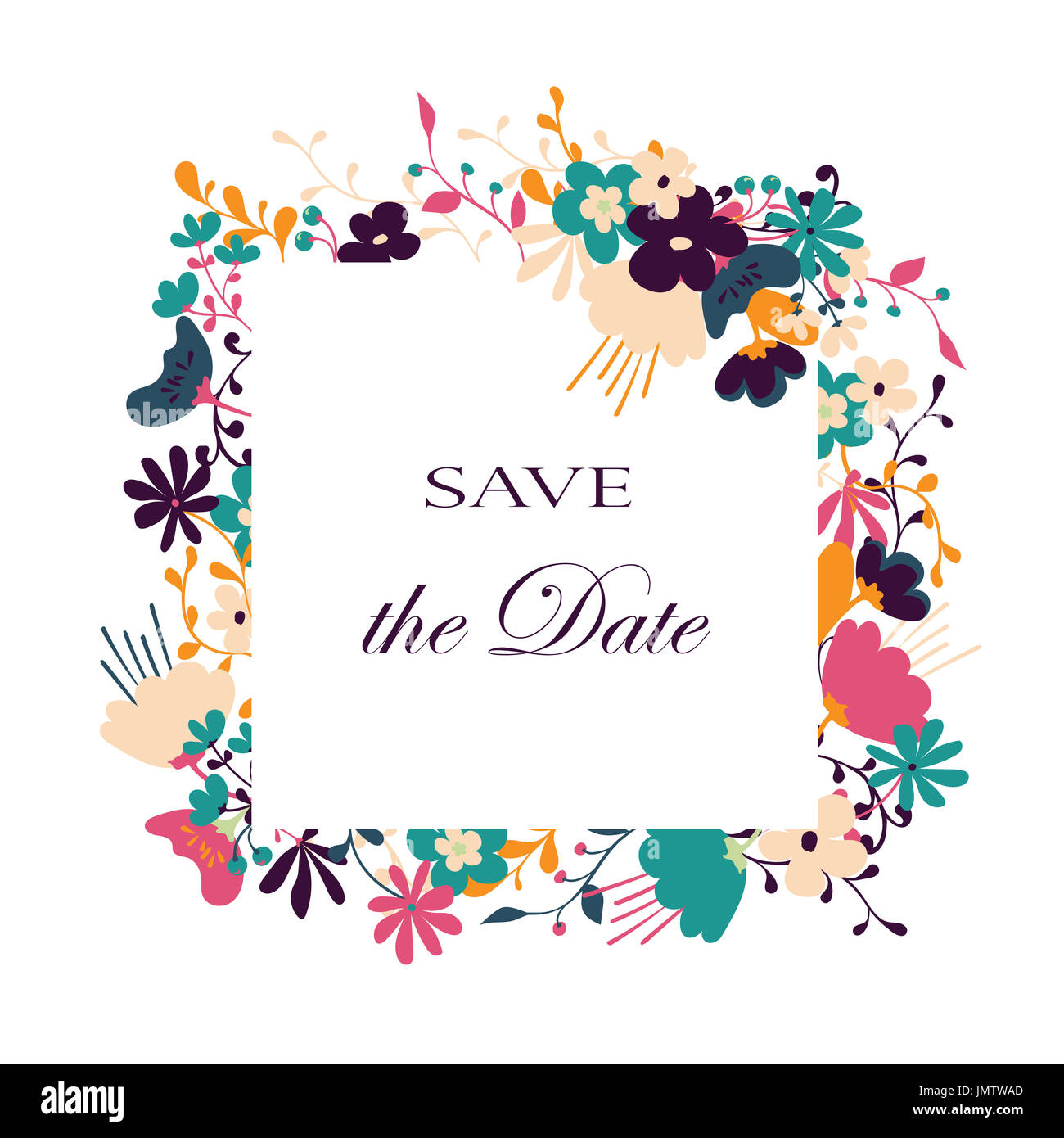 Floral Vector Card Hand Drawn Design For Save The Date Thank You