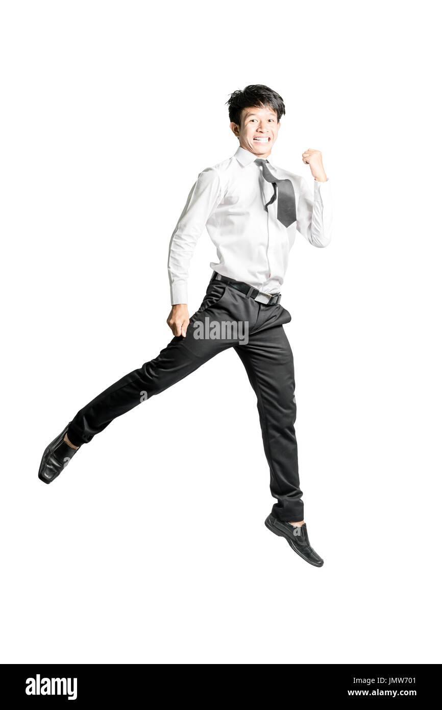 Portrait of a young asian businessman jumping and feeling glad. Isolated on white background with copy space and clipping path - Stock Image