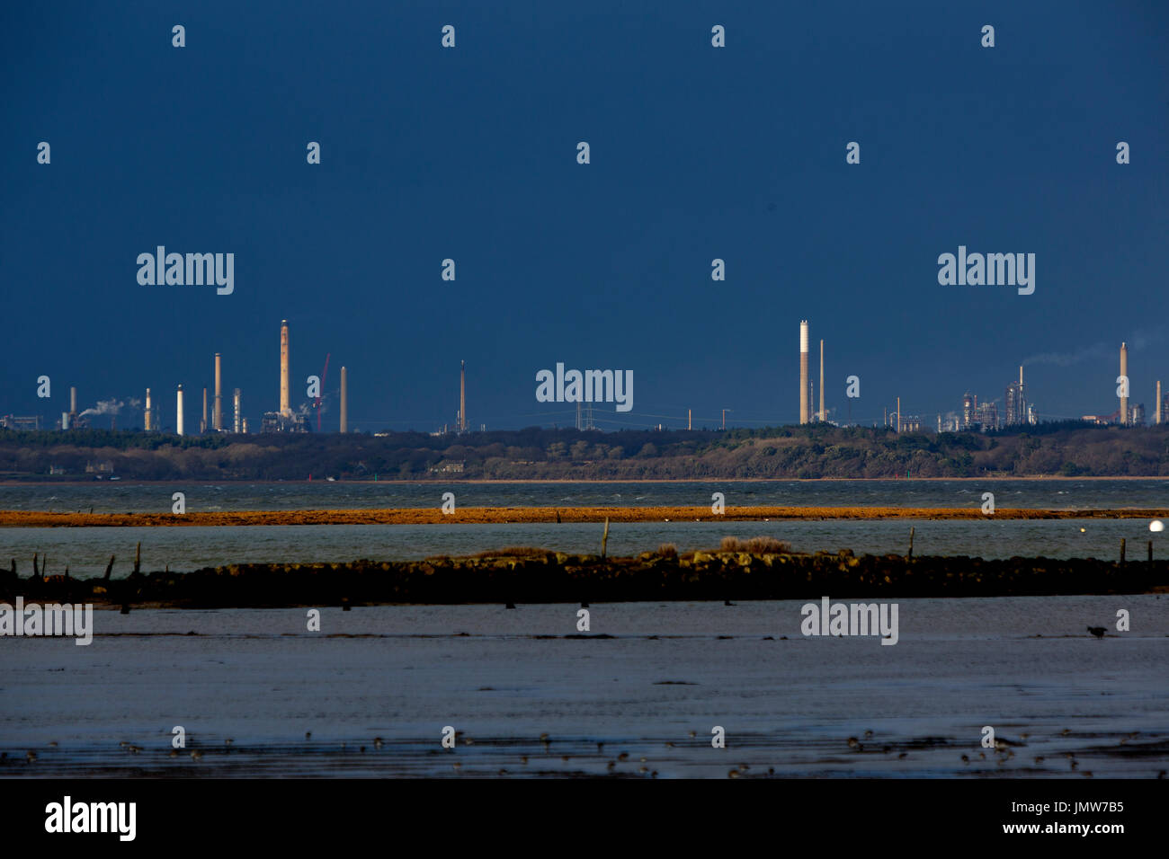 Fawley Oil Refinery viewed from Newtown nature reserv, Isle of Wight, - Stock Image