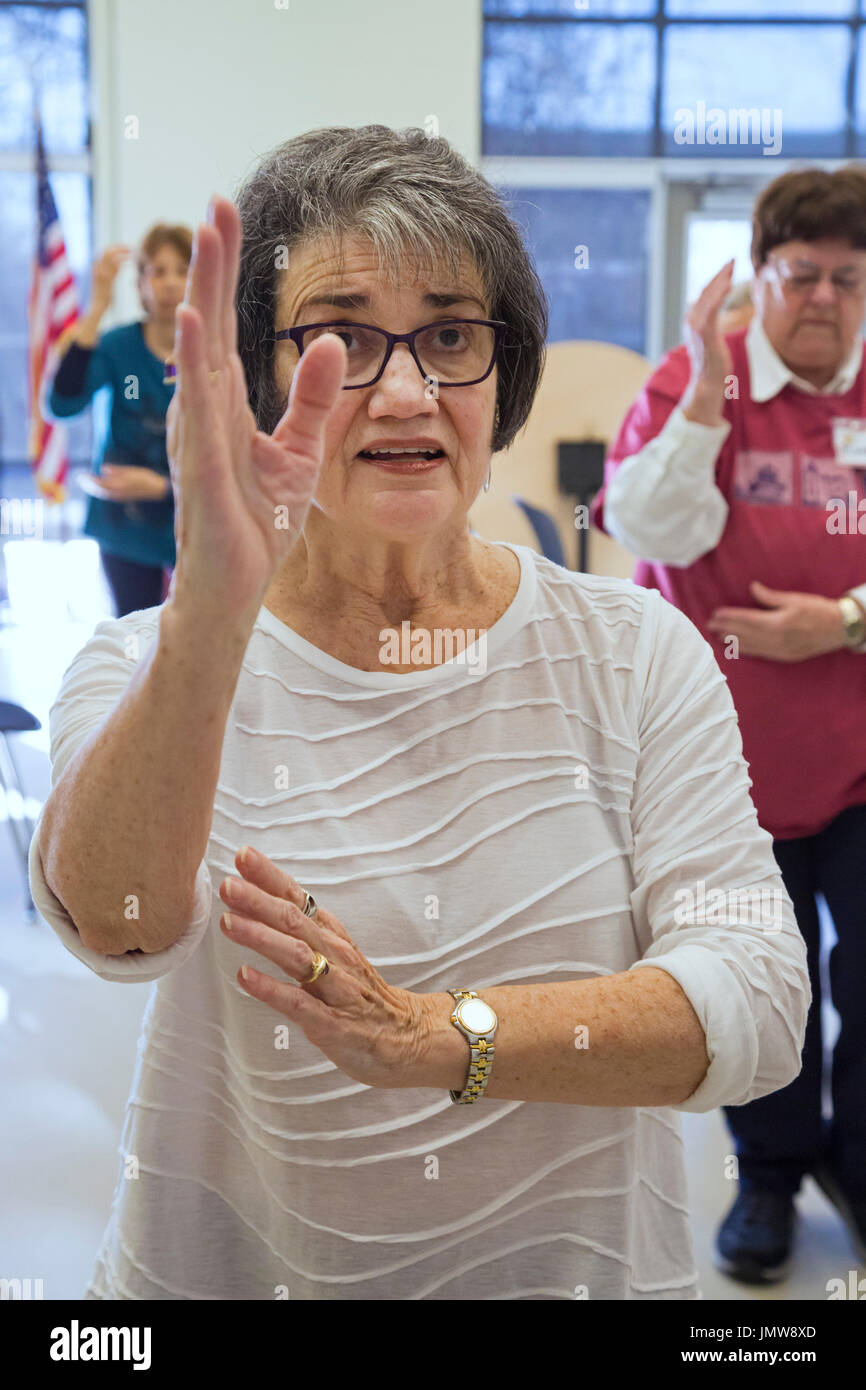 Saline, Michigan - Retired school teacher Diane Evans teaches Tai Chi to senior citizens at the Saline Area Senior Center. - Stock Image