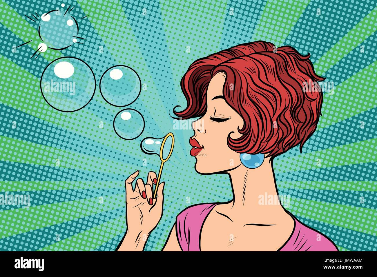 Young woman blowing bubbles - Stock Vector