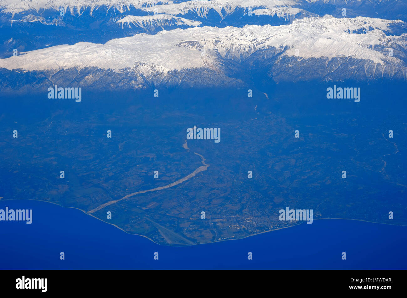 View From Airplane Caucasus Mountains Stock Photos & View From ...