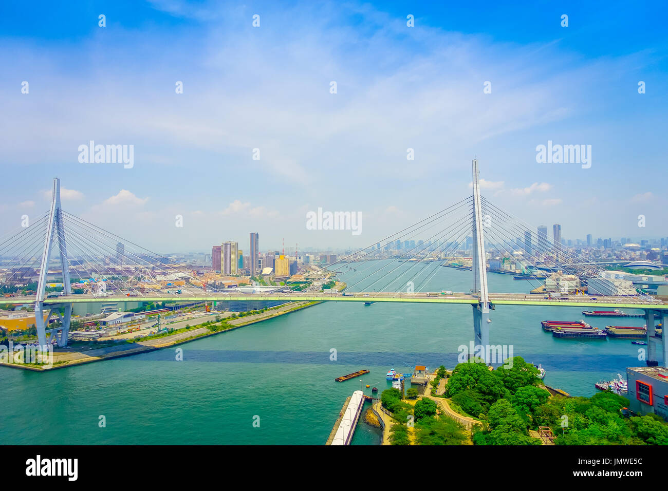 OSAKA, JAPAN - JULY 18, 2017: Beautiful view of the city of Osaka district in Osaka, Japan in a beautiful day - Stock Image
