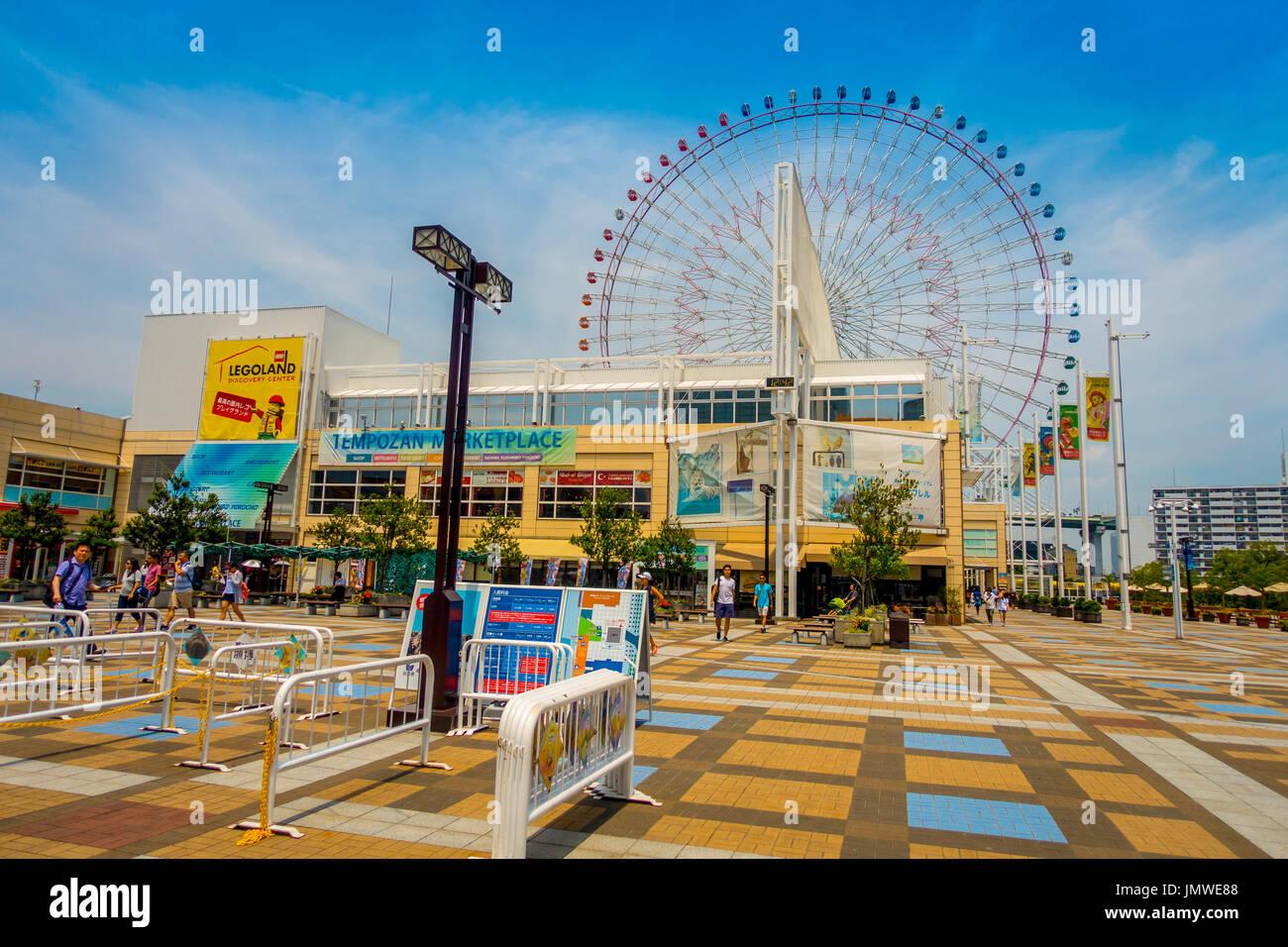 OSAKA, JAPAN - JULY 18, 2017: Close up frame trust of Tempozan ...