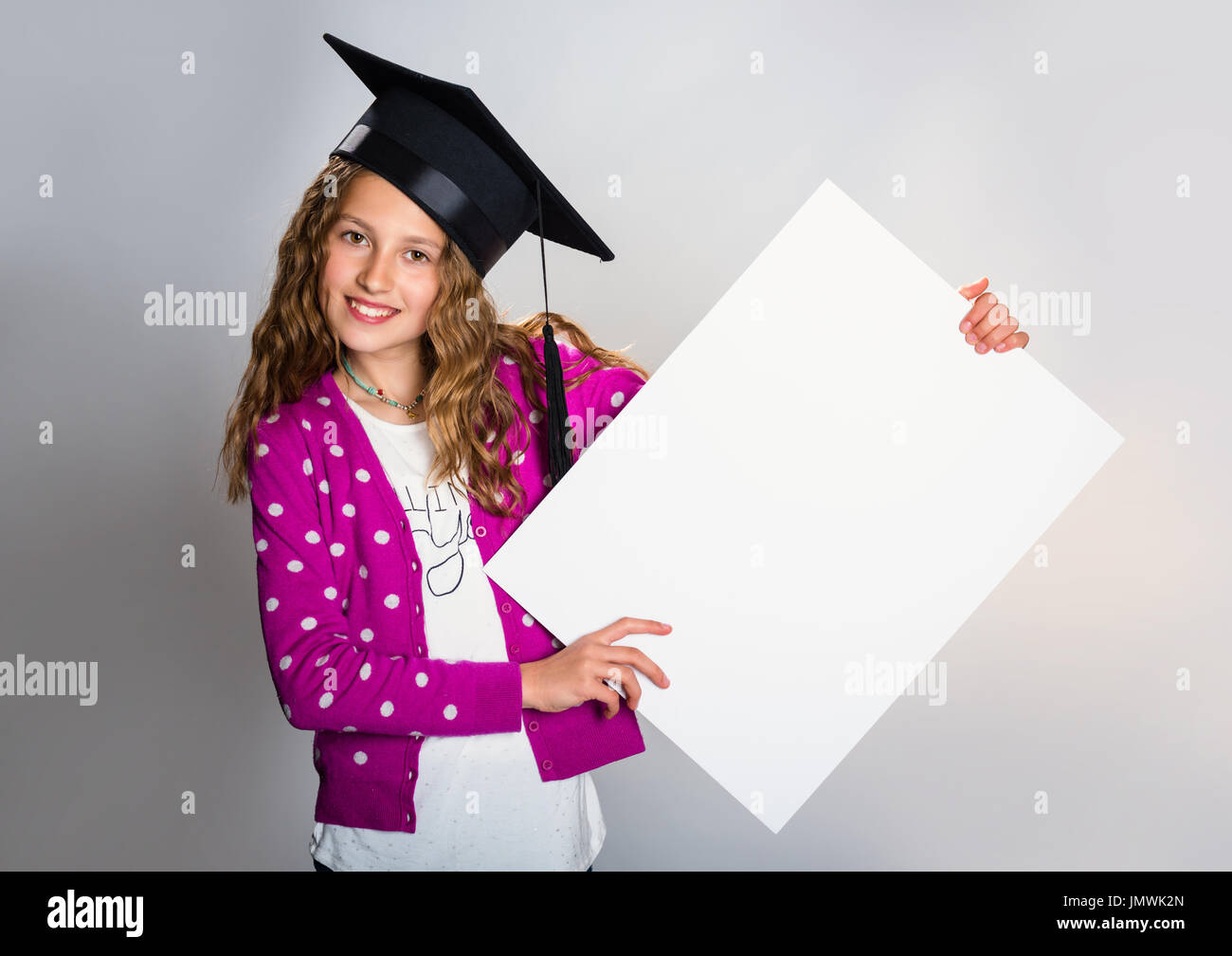 Happy girl with a promotional message - Stock Image