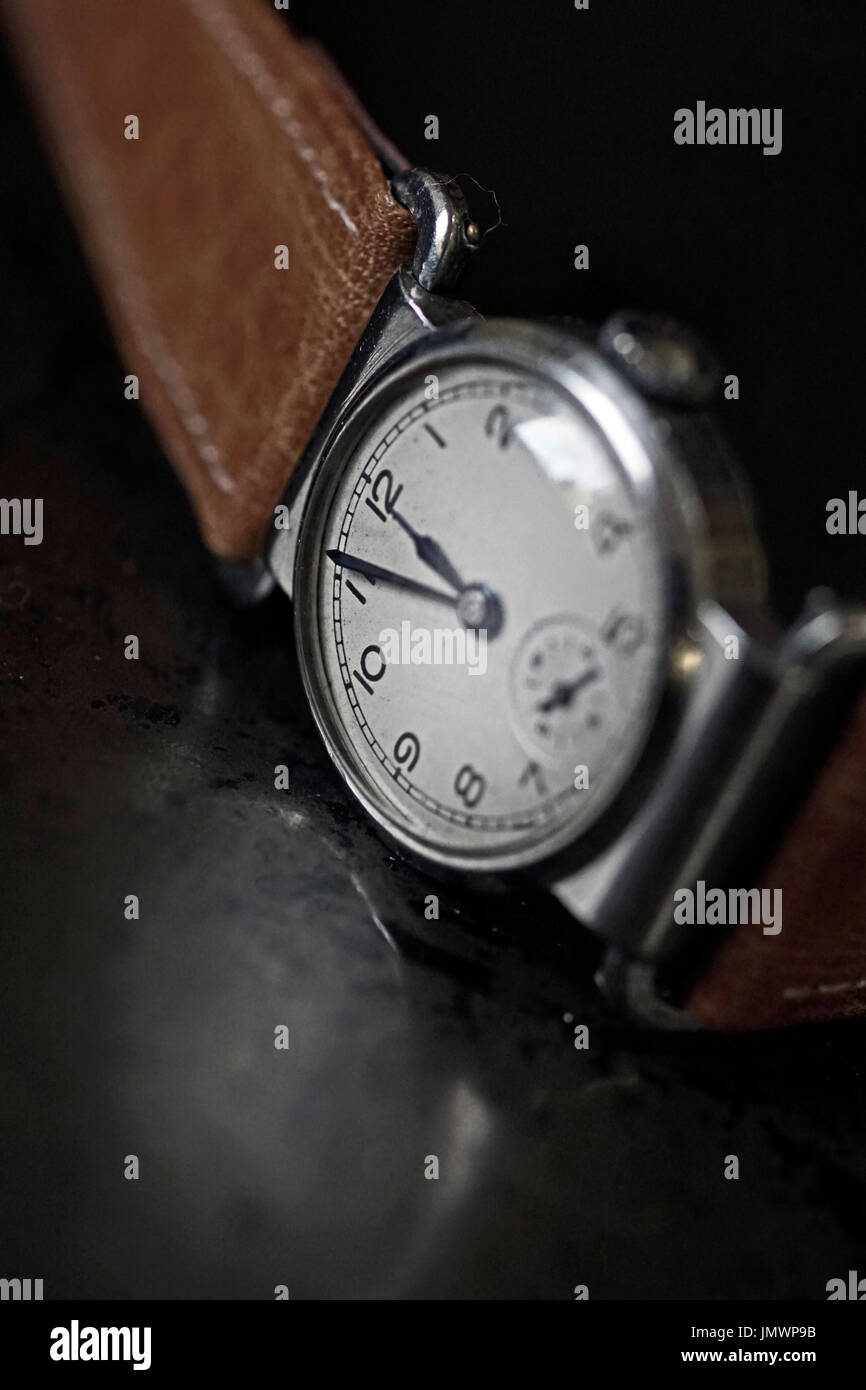 arcadia swiss vintage driving watch - Stock Image