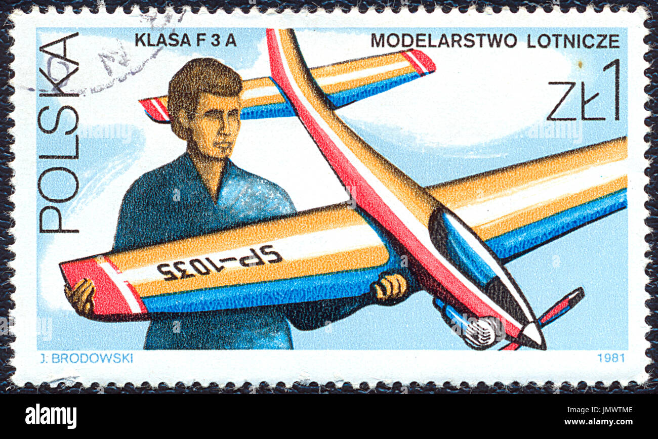 Poland - 1981: Postage stamp printed in Poland shows the aircraft modeling. Stamp printed by Polish Post circa 1981. - Stock Image