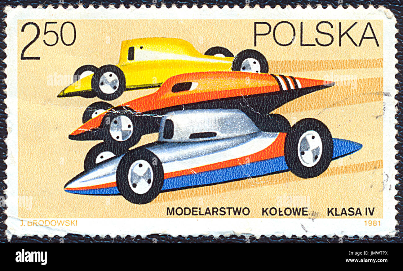 Poland - 1981: Postage stamp printed in Poland shows the car modeling. Stamp printed by Polish Post circa 1981. - Stock Image