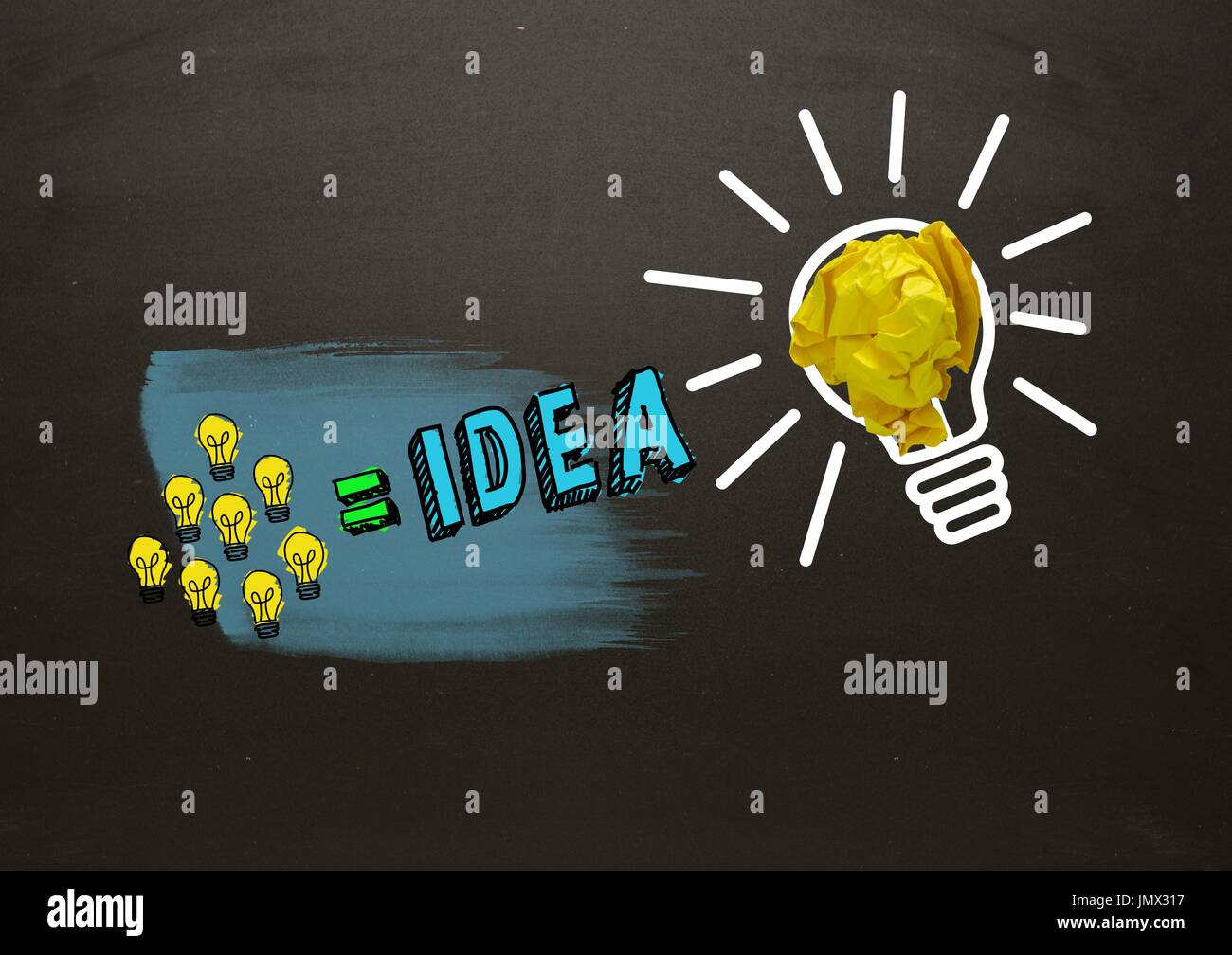Digital composite of Many little lightbulbs equals idea and big light bulb with crumpled paper with blackboard Stock Photo