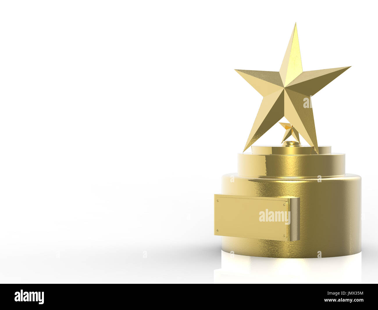 3d Rendering Gold Star Trophy On White Background
