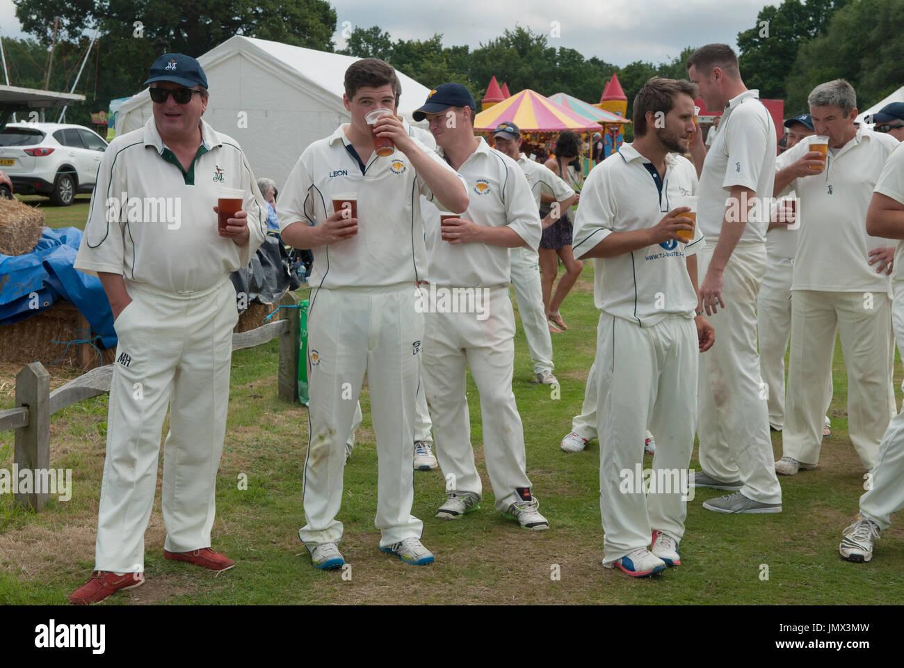 Cricket team pints of beer English village life England Uk HOMER SYKES - Stock Image