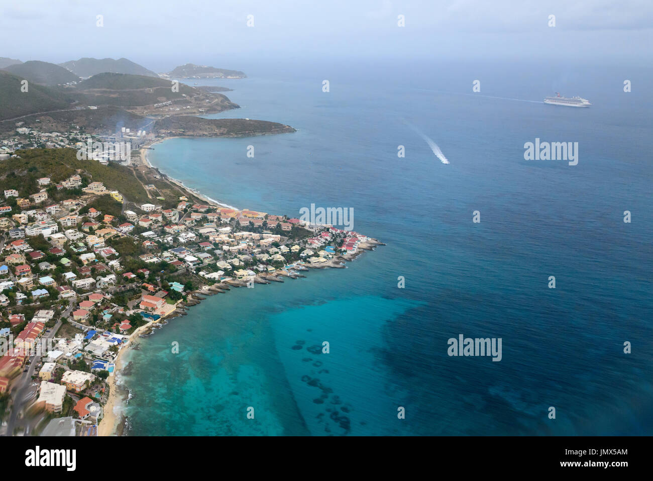 Aerial photography from Tortola Island, Road Town, Tortola Island, British Virgin Islands, Caribbean Sea - Stock Image