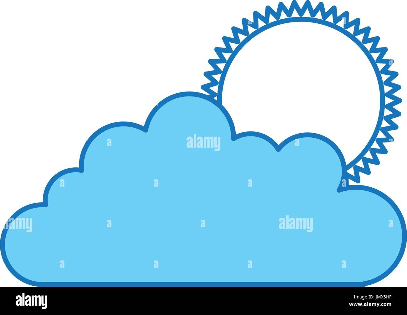 cloud sky with sun - Stock Vector
