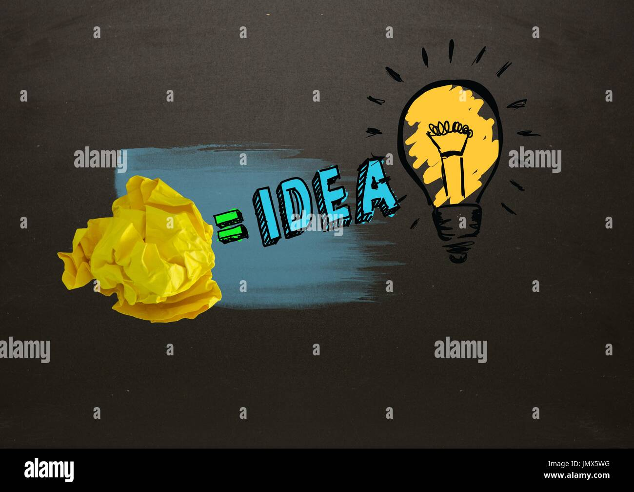 Digital composite of Crumpled paper equals idea light bulb with blackboard Stock Photo