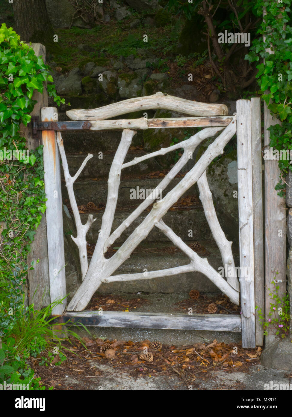 Rustic Garden Gate Made From Drift Wood In Coastal Garden   Stock Image