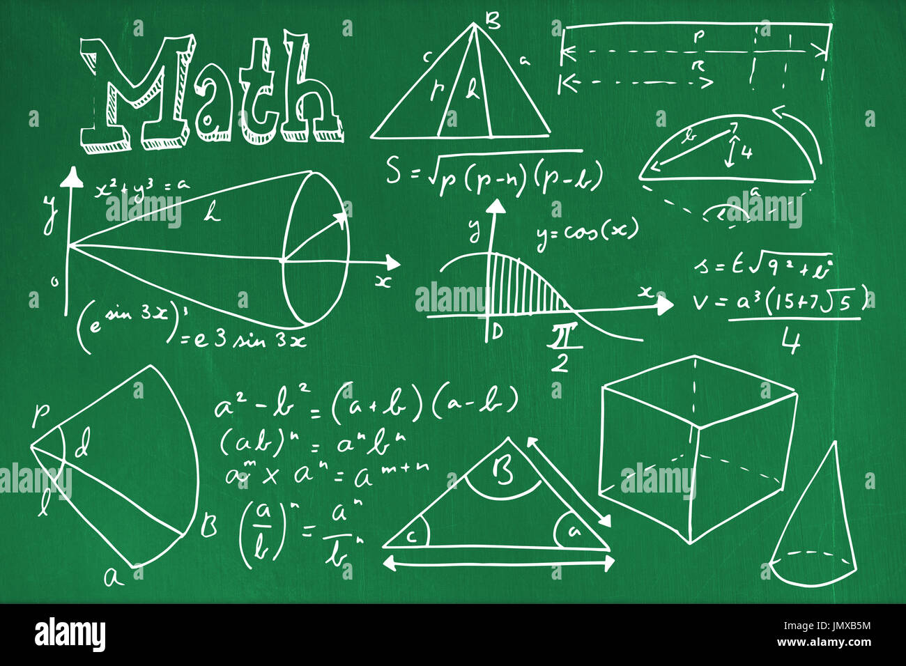 Geometric shapes with math text against blackboard with copy space ...
