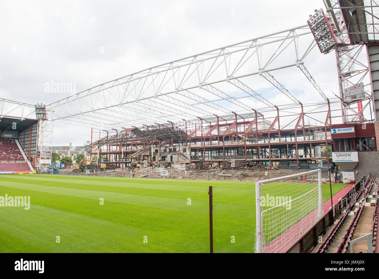 WWW.IANGEORGESONPHOTOGRAPHY.CO.UK Picture: Old stand demolition, Leitch stand Heart of Midlothian auction off parts of their main stand - Stock Image