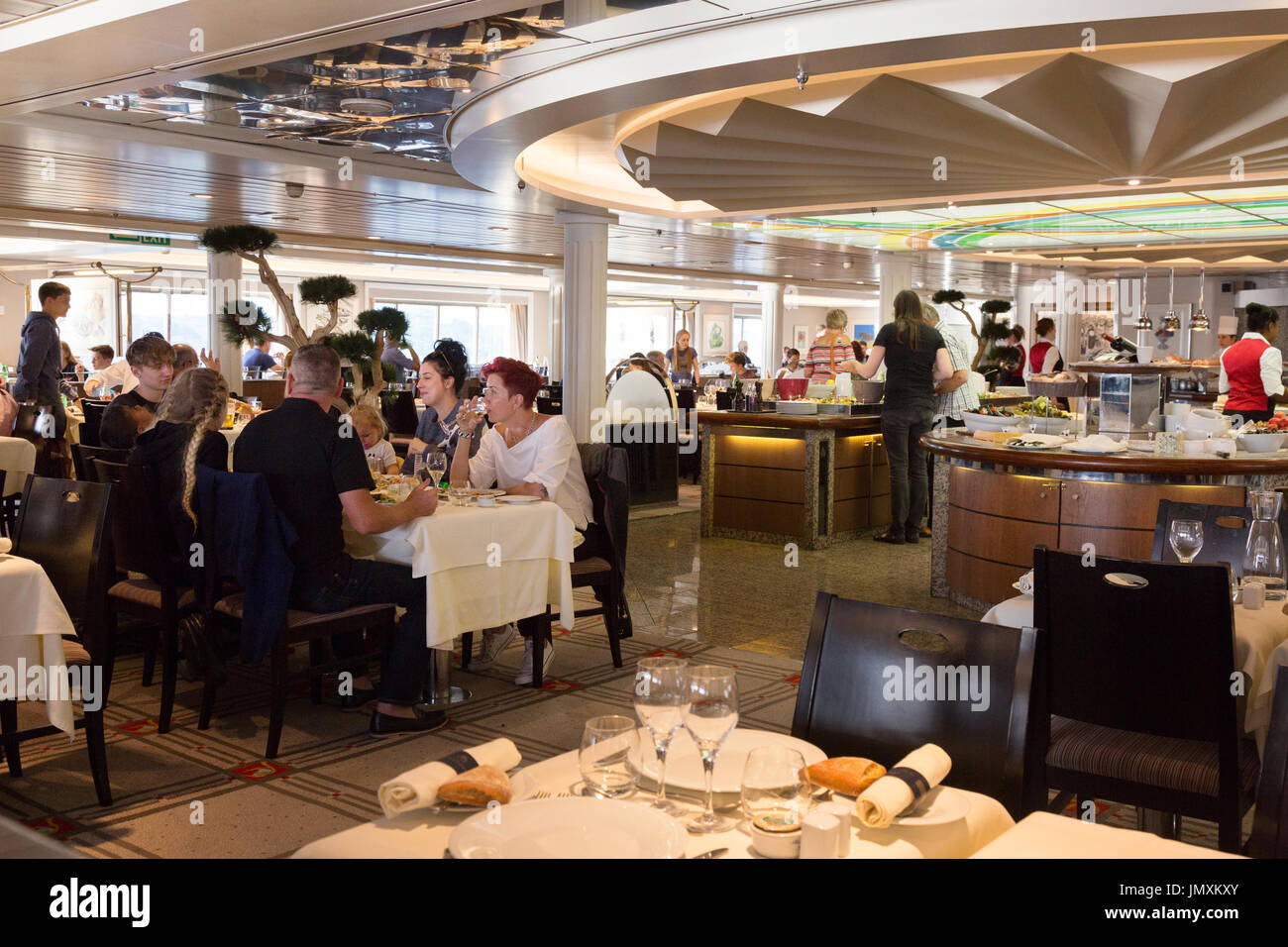 Brittany Ferries; - Passengers dining in the Les Abers restaurant aboard the Brittany Ferry 'Bretagne', whilst crossing the Channel - Stock Image