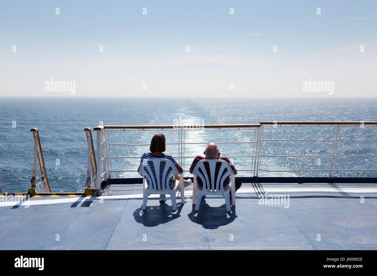 "Couple cruising on a cross channel  ferry,  Brittany Ferry ""Bretagne"", Brittany Ferries, from Portsmouth UK to St Stock Photo"