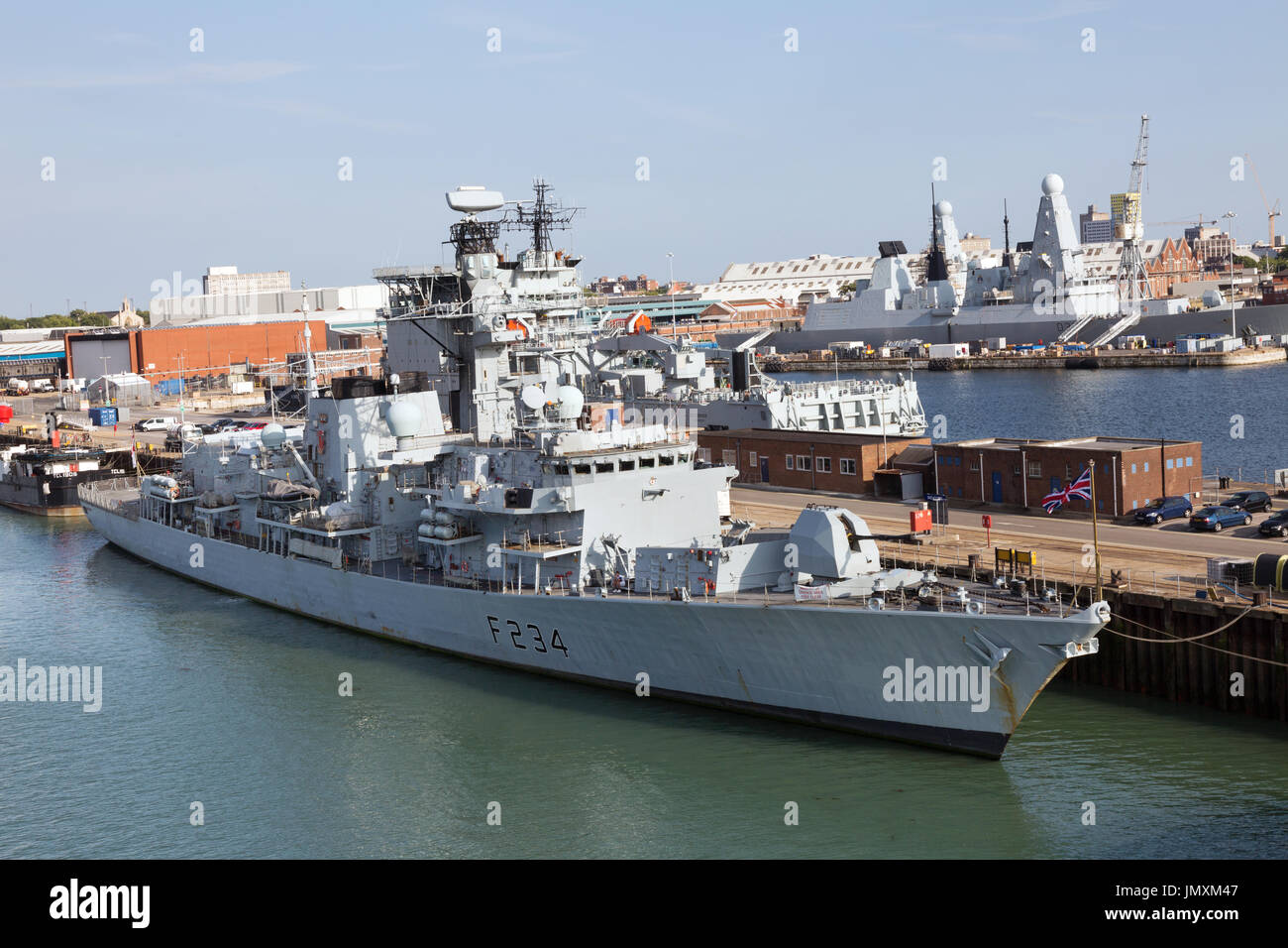 HMS Iron Duke F234, a type 23 frigate, moored in Portsmouth Naval Dockyard, Portsmouth UK - Stock Image