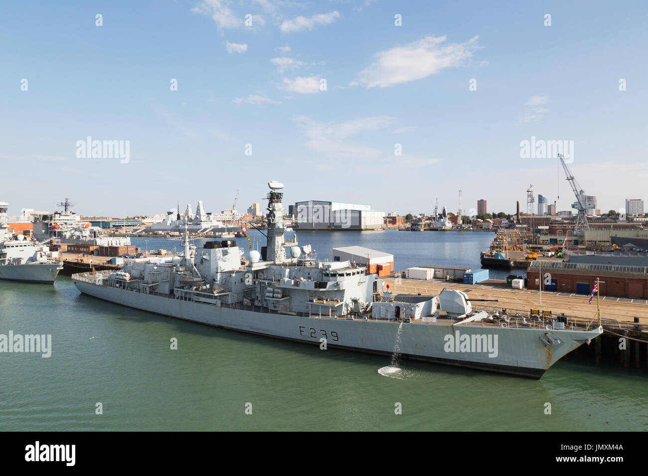 HMS Richmond F239, a type 23 frigate, moored in Portsmouth Naval Dockyard, Portsmouth UK - Stock Image
