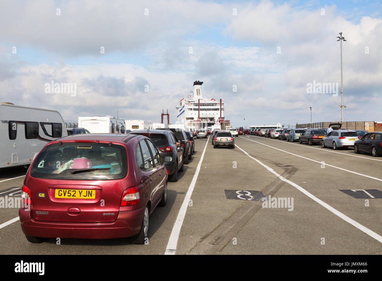 Cars waiting to board the car ferry at St Malo ferry port, St. Malo,  Brittany France - Stock Image