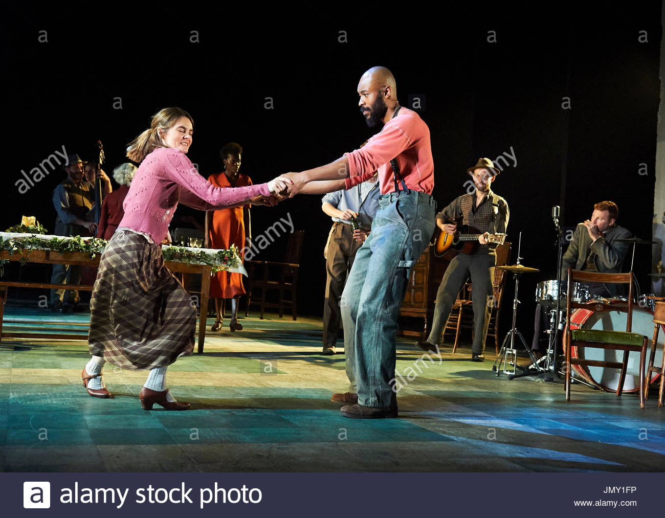 Girl From The North Country,written and directed by Conor McPherson, music and Lyrics by Bob Dylan. With Shirley Henderson as Elizabeth Laine, Arinze Kene as Joe Scott. Opens at The Old Vic Theatre on 26/7/17. - Stock Image