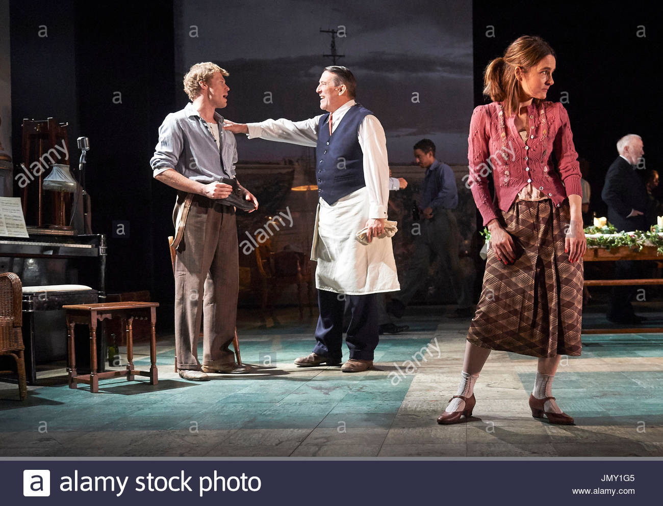 Girl From The North Country,written and directed by Conor McPherson, music and Lyrics by Bob Dylan. With Sam Reid as Gene Laine,Ciaran Hinds as Nick Laine, Shirley Henderson as Elizabeth Laine. Opens at The Old Vic Theatre on 26/7/17. - Stock Image