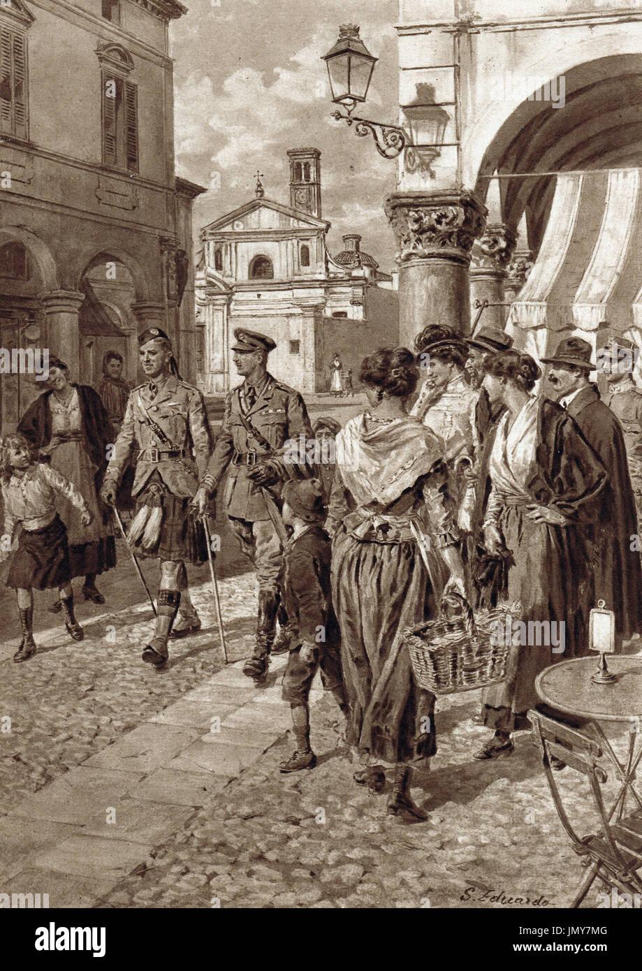 Scottish Kilt causing a stir in Italy, WW1 - Stock Image