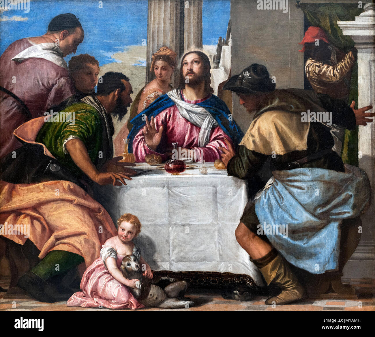 Supper at Emmaus by Paulo Veronese (1528-1588), oil on canvas, c.1565-1570 - Stock Image