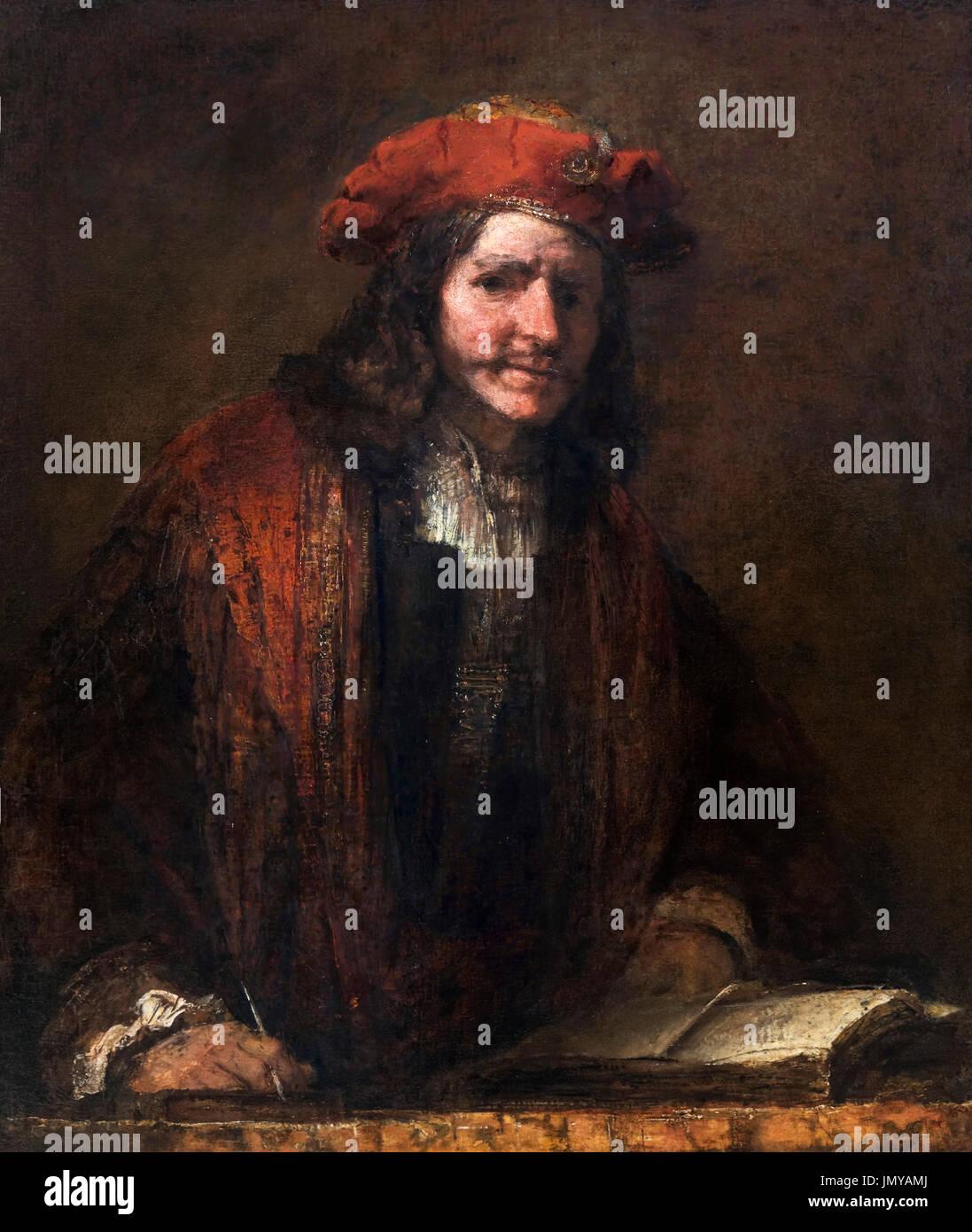The Man with the Red Cap (De Man met de Rode Muts), attributed to Rembrandt van Rijn, oil on canvas, c.1660. - Stock Image