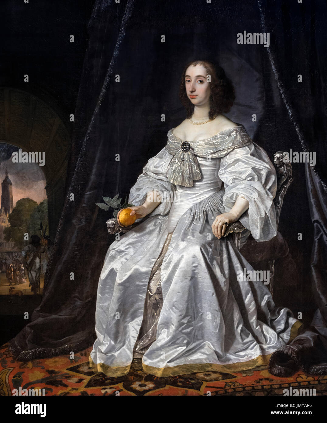 Mary Henrietta Stuart (1631-1660), widow of William II, Prince of Orange and mother of William III, King of England. Painting by Bartholomeus van der Helst, oil on canvas, 1652. - Stock Image
