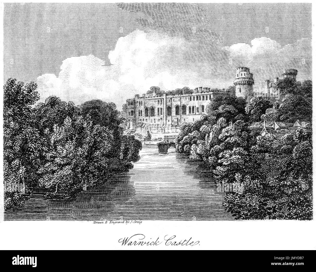 An engraving of Warwick Castle scanned at high resolution from a book printed in 1808.  Believed copyright free. - Stock Image