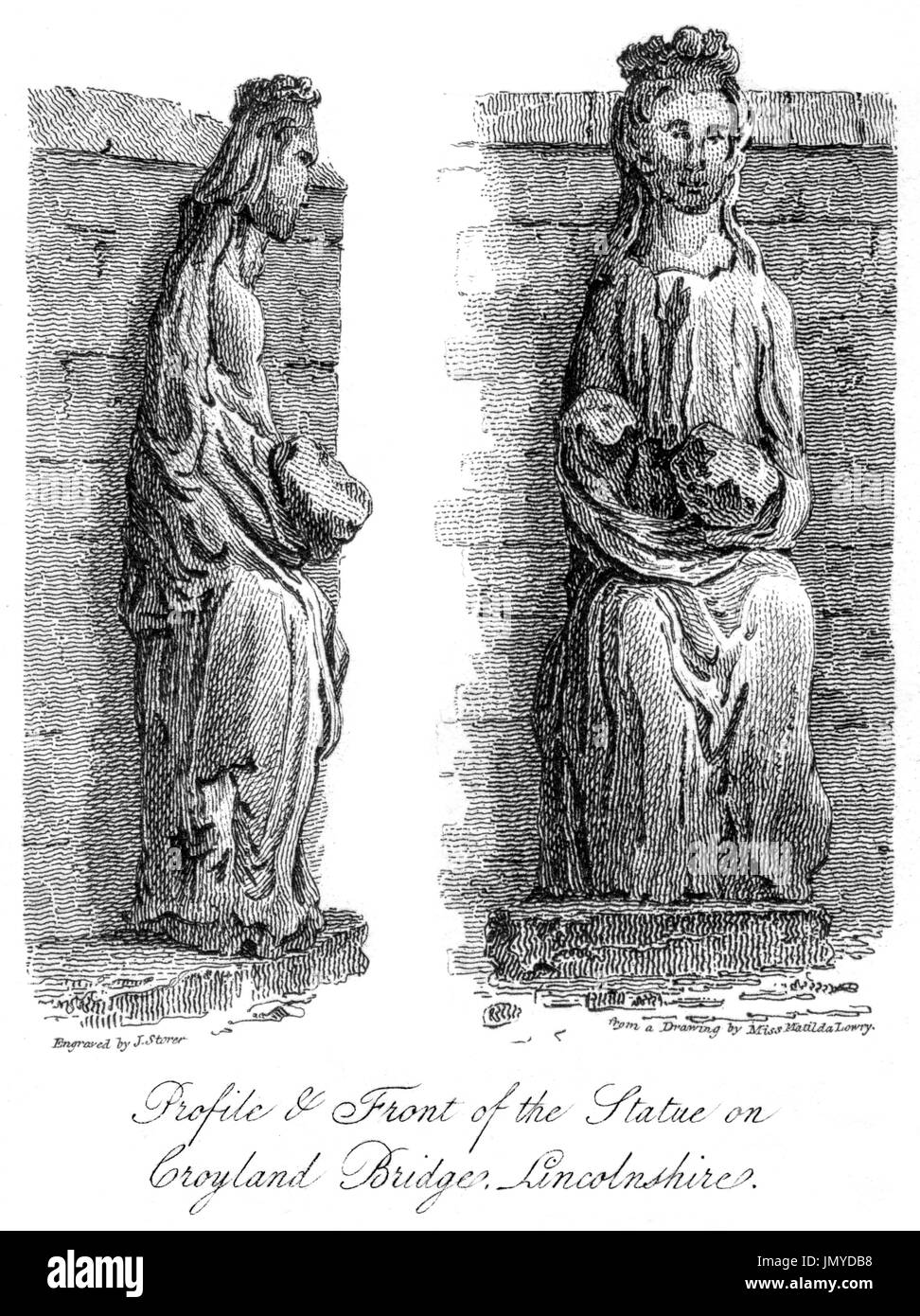 Engraving of the Profile & Front of the Statue on Croyland Bridge (Trinity Bridge, Crowland) Lincolnshire scanned at high res from a book of 1808. - Stock Image